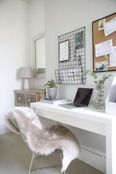 Bedroom goals! Try a home office work station in your bedroom to maximise a small space. We love this contemporary modern bedroom design with light decor and feminine design. Shop the look at IKEA, TROUVA & AMARA. Get in touch with our design team for your own design for £75