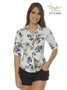 Blusa Moda Colombiana Solo Amor - Ref. 246 -2773-5 SA Azul Bra Styles, Blouse Styles, White Shirts Women, Fashion Outfits, Womens Fashion, Fashion Bra, Mom Dress, Denim Jumpsuit, Work Tops