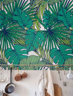 Palm Monstera leaf Wallpaper Removable Wallpaper by Jumanjii                                                                                                                                                                                 More