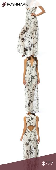 Chic in chiffon garden print jumpsuit Brand new  Boutique item   Chic and classy the jumpsuit is simply perfect. Wide legged sheer pants with partially lining, sexy plunging neckline and peek-a-boo backline. I am IN LOVE with this jumpsuit!! Pair with heels and floppy hat or on cooler days grab a denim jacket/blazer and stilettos.  Lieght weight 100%Polyester Made in Cambodia  Vacation cruise party tea party garden party picnic classy jumper romper office classy anniversary date night floral…
