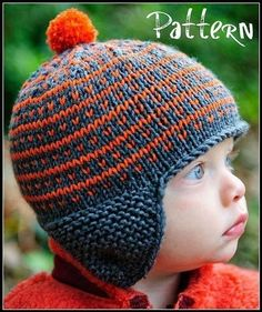 Simply Fair Isle pattern by Kate Oates : This design features a simple and easy to remember fair isle pattern, great for beginners learning stranding technique! Ear flaps are knit first, then worked into the cast on round. Fair Isle Knitting Patterns, Fair Isle Pattern, Crochet Patterns, Hat Patterns, Knitting Patterns For Babies, Simple Knitting Patterns, Stitch Patterns, Baby Hats Knitting, Knitting For Kids