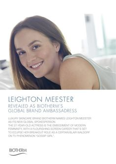 Leighton Meester is the new Brand Ambassadress of Biotherm