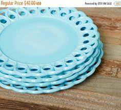 ON SALE Set of 4 Blue Milk Glass Plates  8 inch Lattice