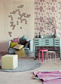 Perfect winter pastels with a 'pop' of bright colour. This living room is a great example of how you don't have to stick with pastels alone...work in some of your existing décor for a fun twist!