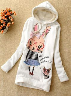 White Butterfly Rabbit Hooded Sweatshirt$38.00