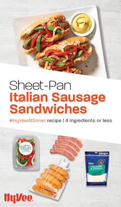 Sheet-pan recipes are amazing because you cook everything on one pan! Try these tasty sausages baked with Hy-Vee Short Cuts fajita vegetables for an easy and delicious meal. Italian Sausage Sandwich, Sausage Sandwiches, Fajita Vegetables, 4 Ingredient Recipes, Tasty, Yummy Food, Sausages, Short Cuts, Fajitas