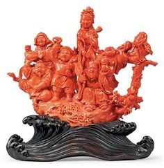 A Chinese carved coral figural group. 19th century. Photo: Christie's Images Ltd., 2010