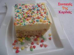 Με ένα δροσερό γλυκάκι ψυγείου σας ευχόμαστε σήμερα καλή βδομάδα!  Φτιάξτε το εύκολα και απολαύστε το!  Για να δούμε πως γίνεται.   Τα υλικά... Greek Sweets, Vanilla Cake, Sweet Treats, Recipies, Baking, Desserts, Food Food, Greece, Decoration