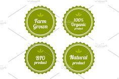 Set of badges on organic food. by DikayaMiau on @creativemarket