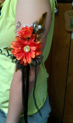 Daisy arm corsage with feathers Prom weddings by SomethingHeavenly
