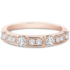 Forevermark Tribute Rose Gold Stackable Diamond Ring ($1,798) ❤ liked on Polyvore featuring jewelry, rings, stackable diamond rings, rose gold eternity ring, stackable eternity rings, rose gold stackable rings and diamond band ring