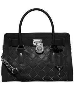 MICHAEL Michael Kors Hamilton Micro Stud East West Satchel Black Cow Leather Tufted Chain Shoulder Handbag Designer Fashion