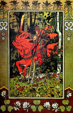 Art Nouveau Red Rider Print by Ivan J. Bilibin, Knight Soldier Red Horse Fire Forest, Vintage Fairy Tale Illustration, OakwoodView, $4.00