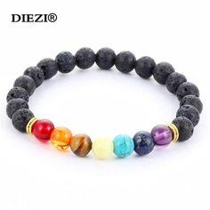 New 2017 Design Mens Bracelets Black Lava 7 Chakra Healing Balance Beads Bracelet For Men Women Rhinestone Reiki Prayer Stones