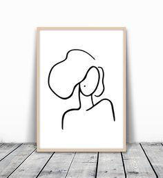 Fashion Print, Modern Art Print, Minimalist Print, Minimalist Art, Woman Portrait, Feminine Art, Black and white line, Sketch Art, Printable Art
