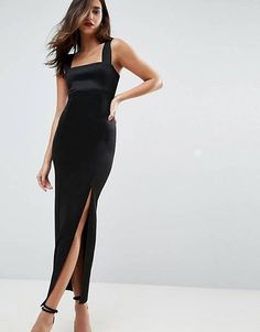 online shopping for ASOS Square Neck Scuba Maxi Dress With Thigh Split from top store. See new offer for ASOS Square Neck Scuba Maxi Dress With Thigh Split Frock And Frill, Winter Bridesmaid Dresses, Winter Bridesmaids, Evening Dresses, Prom Dresses, Formal Dresses, Maxi Robes, Going Out Dresses, Mode Online