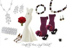 """For the Bride: """"Glamour Girl"""" necklace, earrings, and bracelet. """"Laura"""" ring.   For the Bridesmaids: """"First Lady"""" necklace, bracelet, and earrings. """"Couture"""" ring."""
