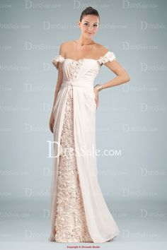 Avant-garde Off-shoulder Floor Length Evening Dress with Rosette and Split-front