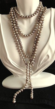 Very Long Freshwater Pearl Lariat Necklace - 62 Inches by MAGICALUNIVERSE on Etsy $39.95
