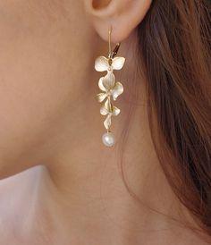 Gold Earrings  Wedding Earrings  Mother Jewelry  by SarahOfSweden