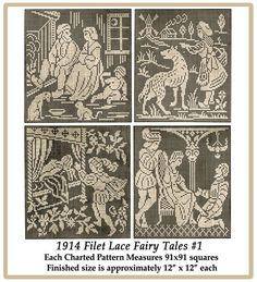 1914 Filet Lace Fairy Tales Chart Pack 1 by ivarose on Etsy