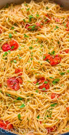 This Angel Hair Pasta is made with cherry tomatoes, garlic, and olive oil. This Angel Hair Pasta Recipes Indian, Cheesy Pasta Recipes, Best Pasta Recipes, Spaghetti Recipes, Cooking Recipes, Simple Pasta Recipes, Crockpot Recipes, Cherry Tomato Pasta, Lemon Pasta
