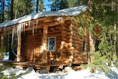 Log Cabin in the Middle of a Alaskan Winter