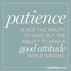 """Patience is not the ability to wait, but the ability to keep a good attitude while waiting."""
