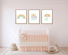 Rainbow nursery print, set of three, pastel nursery, gender neutral nursery decor, boho nursery Pastel Nursery, Rainbow Nursery, Boho Nursery, Nursery Neutral, Nursery Themes, Nursery Prints, Nursery Decor, Baby Boy Or Girl, Rainbow Print