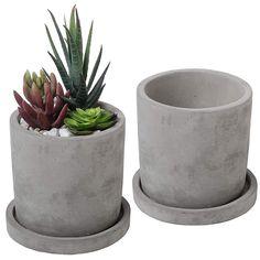 Los planters o maceteros de cemento son tendencia en la decoración de interiores.  #planters #decor #trends #maceteros Concrete Pots, Concrete Garden, Concrete Planters, Garden Planters, Planter Pots, Planter Ideas, Concrete Casting, Diy Planters, Hanging Planters