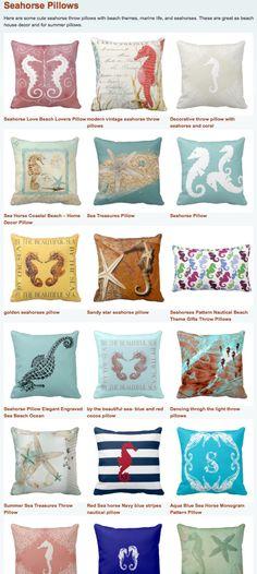 Cool Seahorse Throw Pillows for nautical beach house decor. http://buythrowpillowsonline.com/seahorse-pillows/