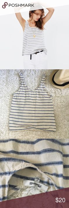 Madewell striped tank In great condition! Only worn and washed once! Just needs a good ironing. Bluish grey stripes with off white background. Somewhat cropped but long enough to cover stomach. Madewell Tops Tank Tops