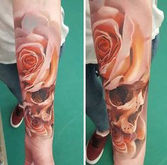 Rose with skull sleeve tattoo - 100+ Meaningful Rose Tattoo Designs <3 <3