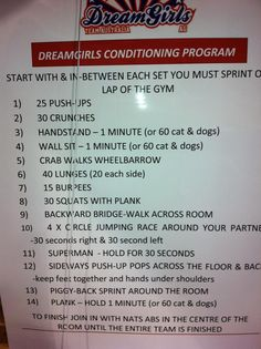 Dreamgirls cheerleading conditioning