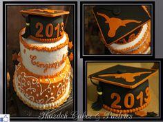 Graduation cake, fondant cake, UT Austin کیک خامه ای