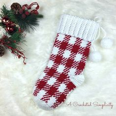 Ravelry: Gingham Plaid Christmas Stocking pattern by Jennifer Pionk Plaid Christmas Stockings, Christmas Stocking Pattern, Crochet Christmas, Crochet Designs, Crochet Patterns, Knitting Patterns, Crochet Stocking, Diy Gifts, Handmade Gifts