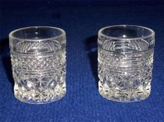 2 VINTAGE ANCHOR HOCKING WEXFORD CRYSTAL SHOT GLASSES / TOOTHPICK HOLDERS