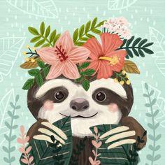 Animals Drawing Harriet Bee Campton Cute Sloth by Olivia Gibbs Canvas Art Size: H x W x D - Baby Sloth, Cute Sloth, Cute Drawings, Animal Drawings, Symbole Tattoo, Wallpaper Kawaii, Sloth Drawing, My Spirit Animal, Flower Art