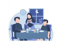 Muslim family eat together at dining roo. Cartoon Design, Cartoon Art, Cartoon Illustrations, Family Illustration, Graphic Illustration, Arabic Characters, Ramadan Background, Family Vector, Islamic Cartoon