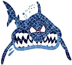 In Your Face Shark Mosaic for Swimming Pool