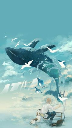 Arte Orca, Pretty Art, Cute Art, Fantasy Landscape, Fantasy Art, Aesthetic Art, Aesthetic Anime, Whale Painting, Whale Drawing
