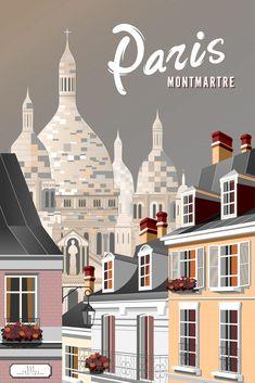 Paris, Montmartre Sacre Coeur Wall Art Linocut Prints, Giclee Print, Poster Prints, Cool Posters, Travel Posters, Paris Poster, Dope Wallpapers, Travel Cards, Paris Travel