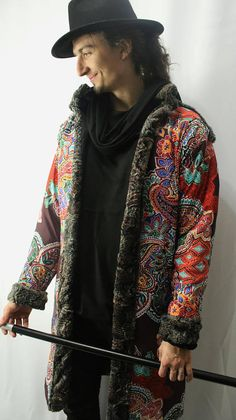 The Pimp Coat / Music Festival Swag / Long Bomber Jacket / Burning Man Outwear / Faux Fur Coat / Pa Mode Gangster, Stylish Older Women, Long Bomber Jacket, Pretty Flacko, Music Festival Outfits, Hat Embroidery, Sport, Burning Man, Paisley Print