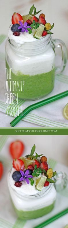 Ultimate Green Smoothie. This is the ultimate recipe of fresh raw fruits and veggies and spices and herbs in a perfect combination to energize and detox. Essentials that set this smoothie apart include turmeric, a powerhouse of antioxidants, black pepper to activate turmeric, cinnamon, a blood sugar stabilzer, and cilantro, the best natural detoxifier. METHOD … #sugardetoxdiets