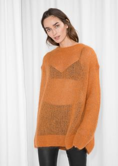 & Other Stories image 2 of Fuzzy Mohair Blend Knit  in Orange