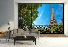Wieża Eiffela (window) - fototapeta - 366x254 cm  Gdzie kupić? www.eplakaty.pl