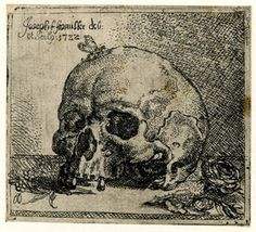 A butterfly sitting on a human skull; rose in the foreground. 1722 Etching