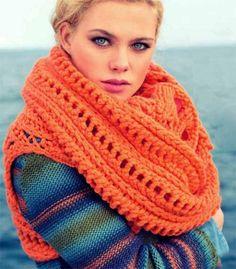 теплый объемный шарф-петля