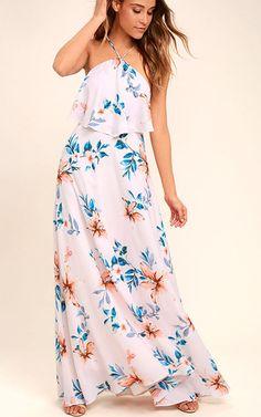 Peninsula Light Peach Floral Print Maxi Dress via @bestmaxidress
