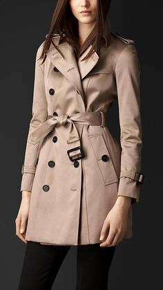 Mid-Length Cotton Sateen Trench Coat   Burberry